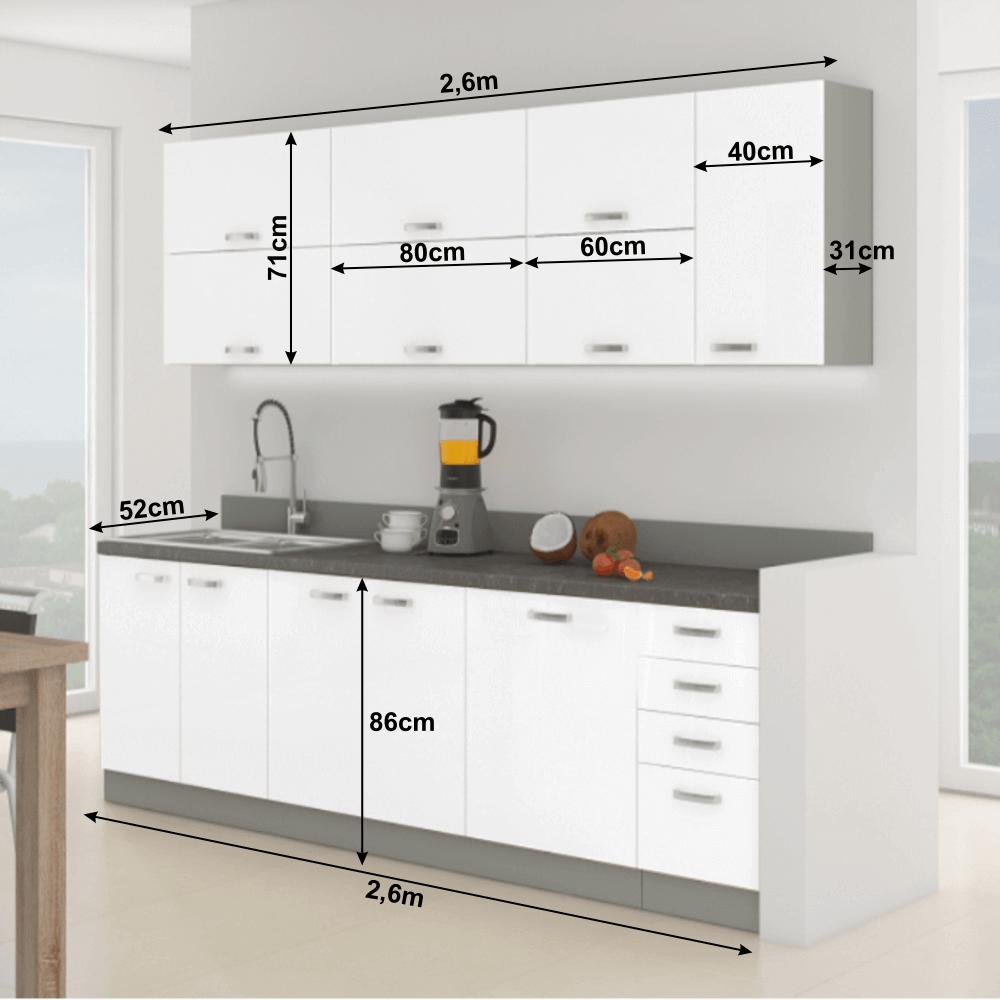 Kuchyňská linka, bílá extra vysoký lesk / šedá, PRADO, TEMPO KONDELA