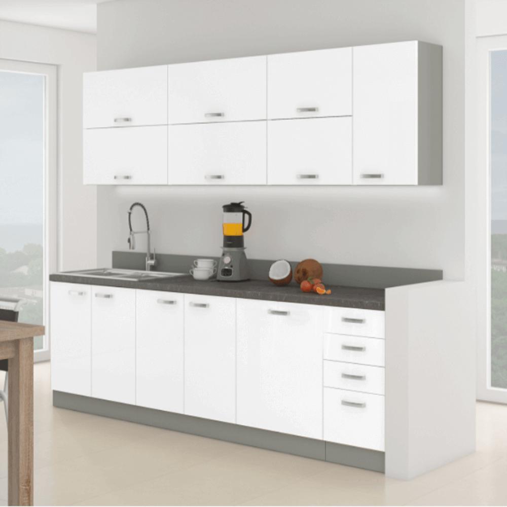 konyhabútor, fehér extra magasfényű/szürke, PRADO