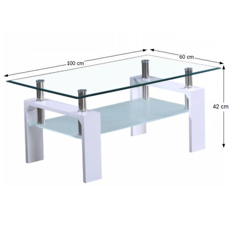 Konferenční stolek, bílá extra vysoký lesk HG / sklo, LIBOR NEW, TEMPO KONDELA