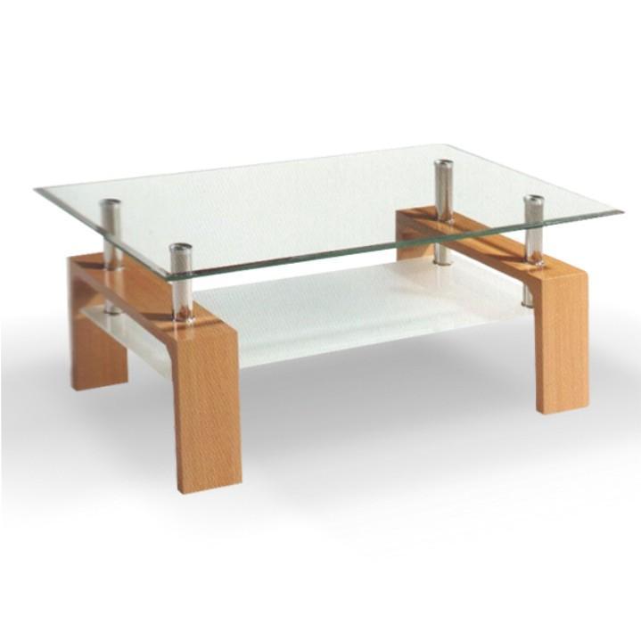 Konferenčný stolík, sklo/buk, LIBOR NEW