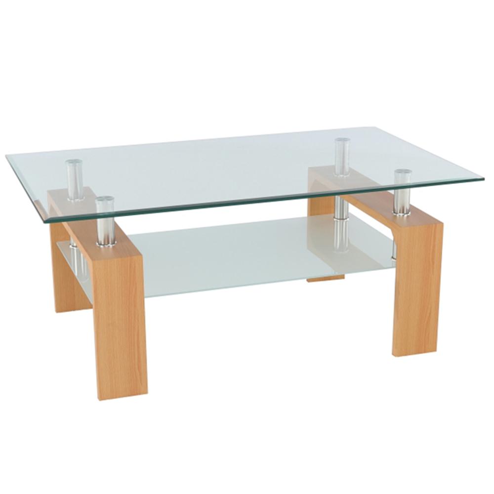 Konferenčný stolík, buk/sklo, LIBOR NEW