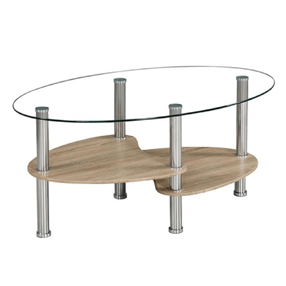 Konferenční stolek, ocel/čiré sklo/dub sonoma, PANTY NEW, TEMPO KONDELA
