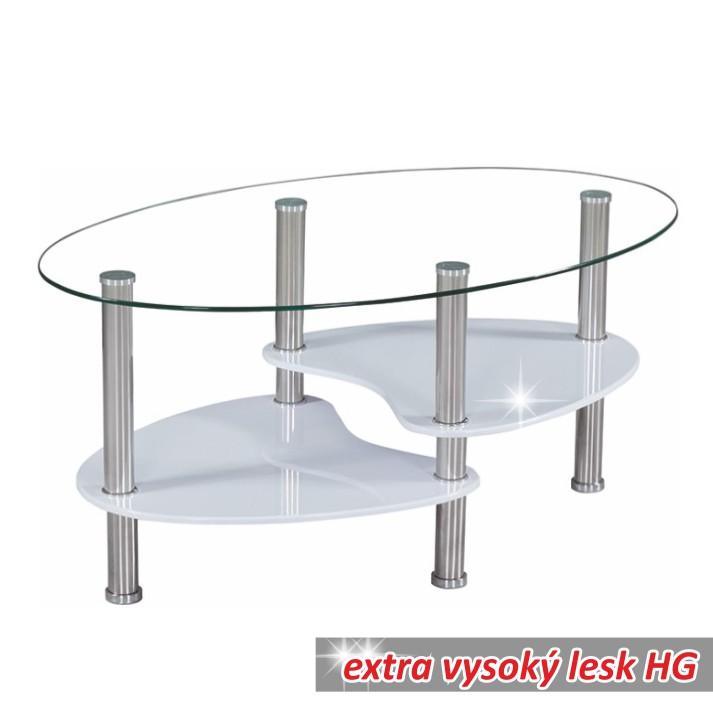 Ob u00fdva u010dka Konferen u010dné stolíky Konferen u010dn u00fd stolík, oce u013e sklo biela extra vysok u00fd lesk HG, AXEL
