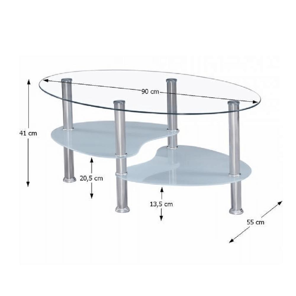 Dohányzóasztal, acél/átlátszó üveg/tejüveg, WAVE NEW