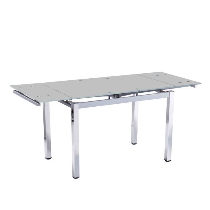 Étkezőasztal összecsukható, króm + ezüst + tej üveg, DITMAR