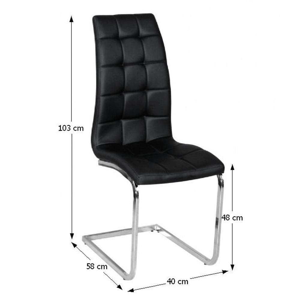 Jídelní židle, černá ekokůže, chrom, DULCIA, TEMPO KONDELA