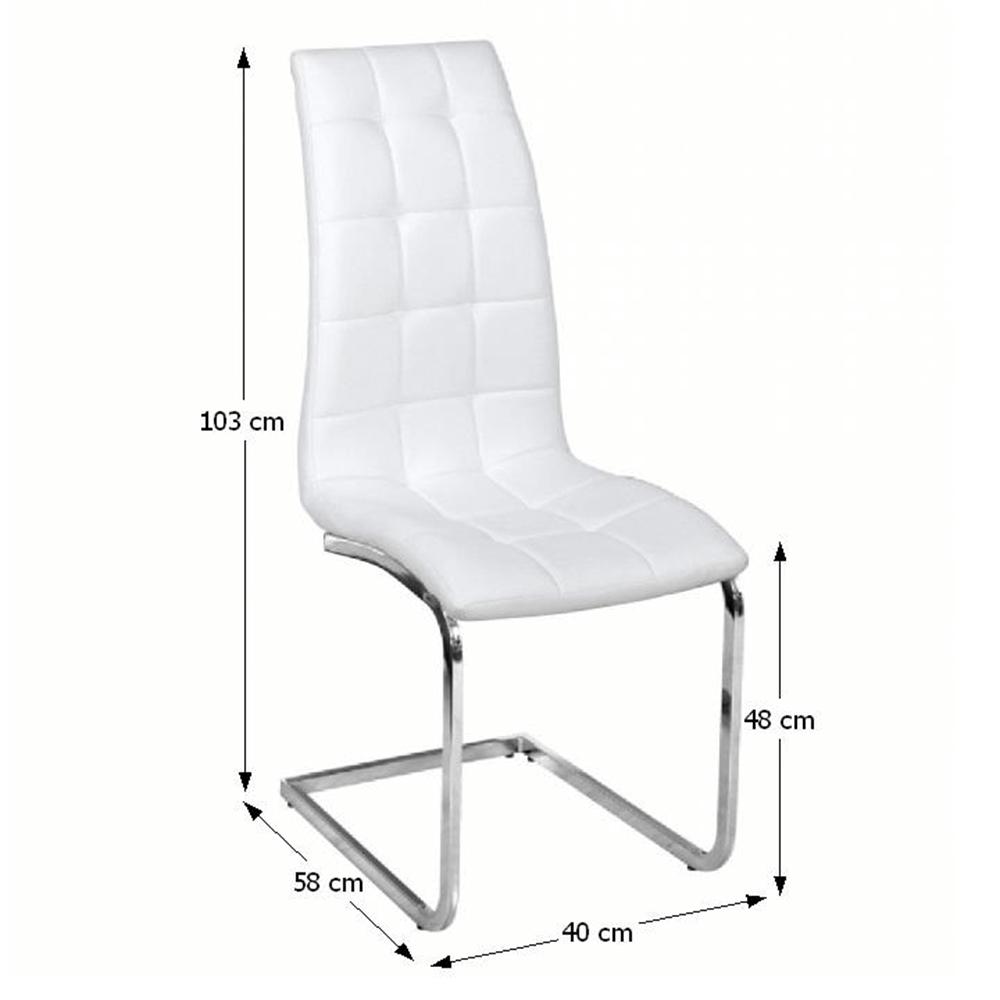 DULCIA - jídelní židle, ekokůže bílá / chrom, TEMPO KONDELA