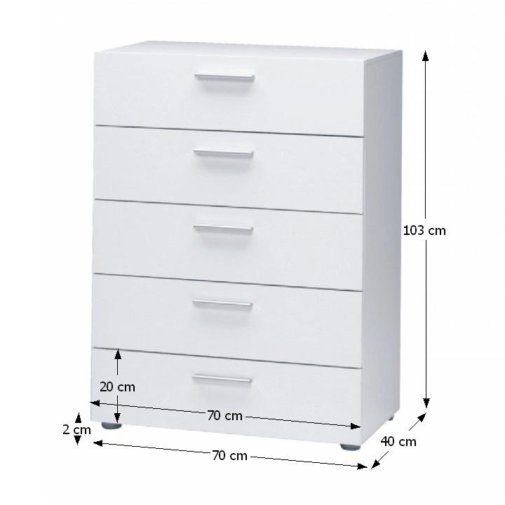 TEMPO KONDELA Komoda, 5 zásuvková, biela, PEPE 70072 - Tempo nábytek