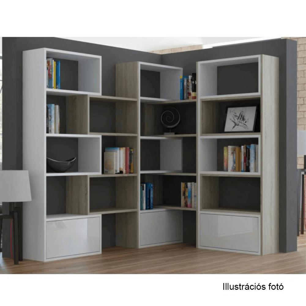 Modern könyvespolc, fehér/sonoma tölgyfa, ASTA
