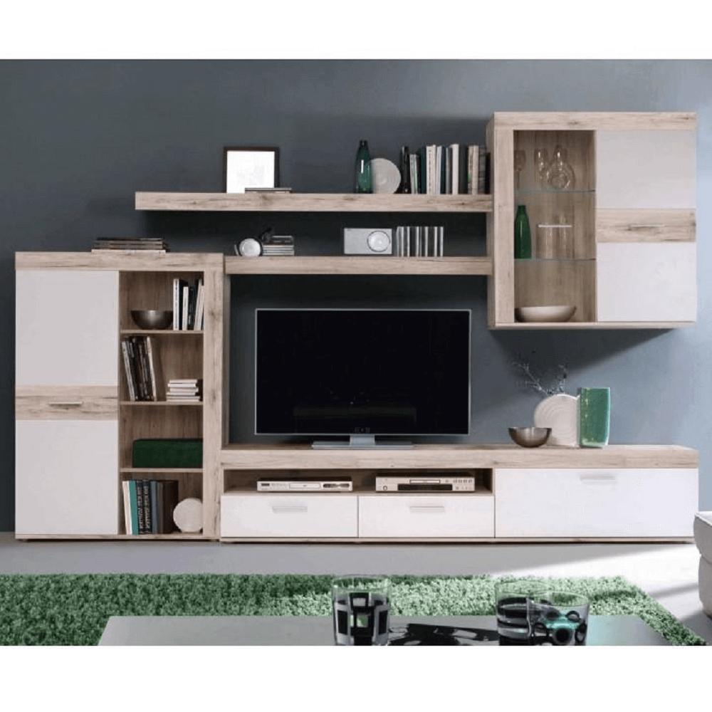VALERIA - Obývací stěna, dub písková / bílá, TEMPO KONDELA