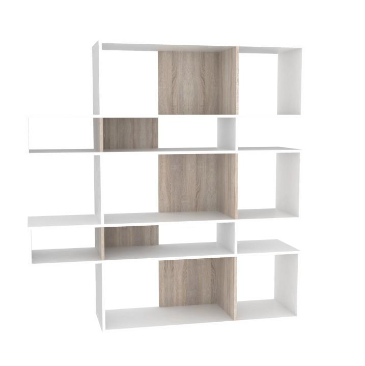 Moderný regál, biela/dub sonoma, LABEL typ1