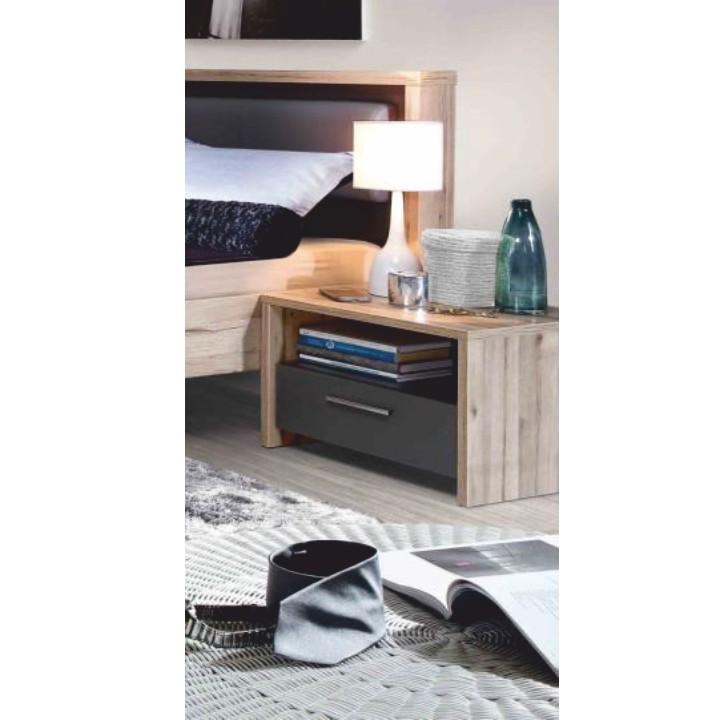 Nočný stolík 2ks, DTD fóliovaná, buk/grafitová sivá, CAIRO