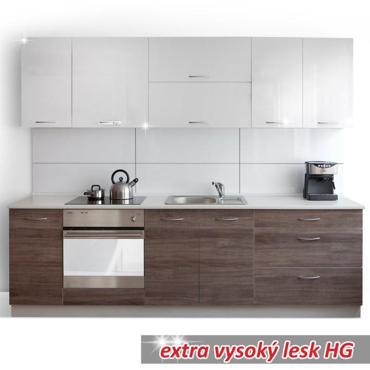 Moderná kuchynská zostava za fantastickú cenu do každej kuchyne v prevedení orech s leskom/biely lesk HG - CLARITA