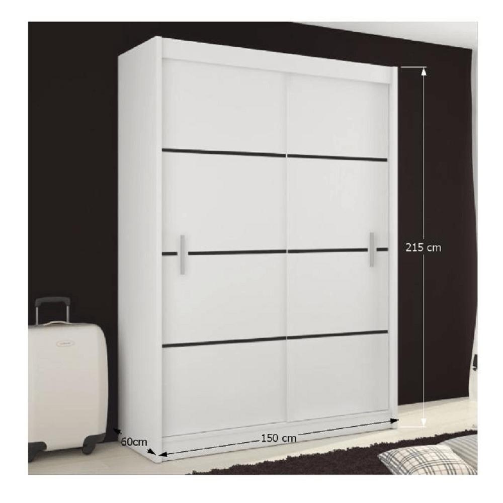 Skříň s posuvnými dveřmi, bílá / černá, Merina 150, TEMPO KONDELA