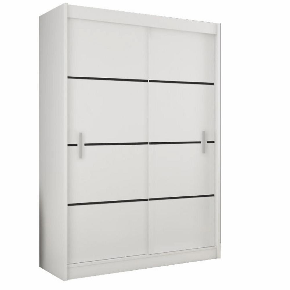 Skriňa s posúvacími dverami, biela/čierna, MERINA 150