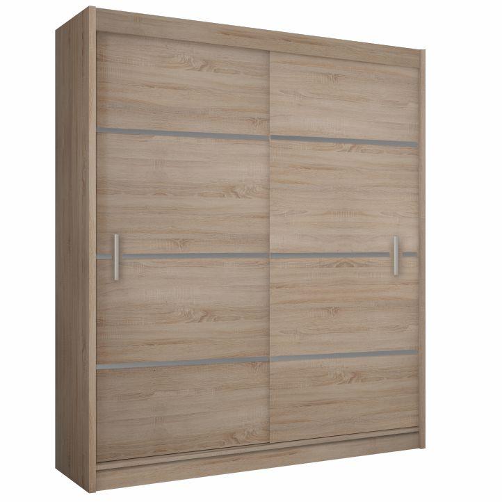 MERINA 150 - Skříň s posuvnými dveřmi, dub sonoma / šedá, TEMPO KONDELA