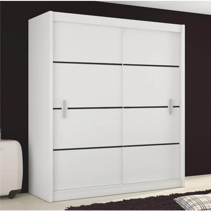 Skriňa s posúvnými dverami, biela/čierna, MERINA 203