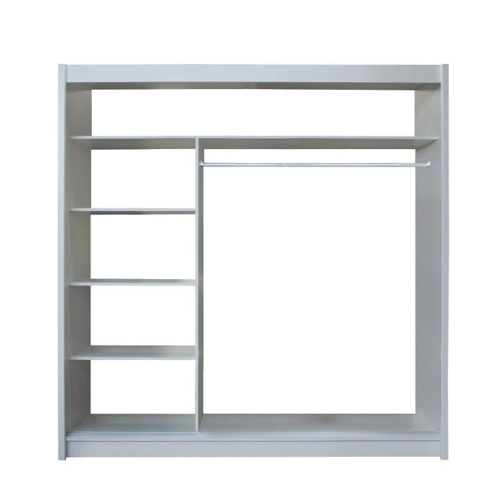 Skříň s posuvnými dveřmi, bílá / černá, Merina 203, TEMPO KONDELA
