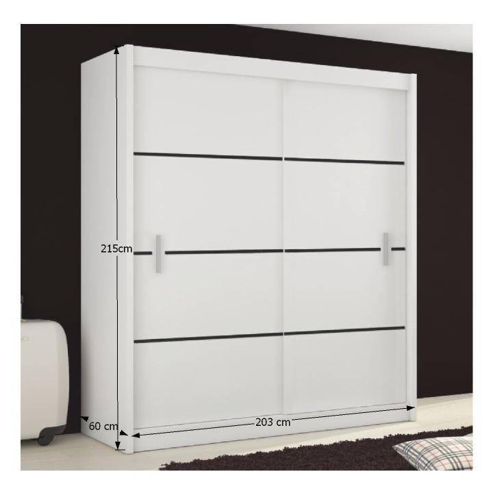 MERINA 203 -  skříň s posuvnými dveřmi, bílá / černá, TEMPO KONDELA