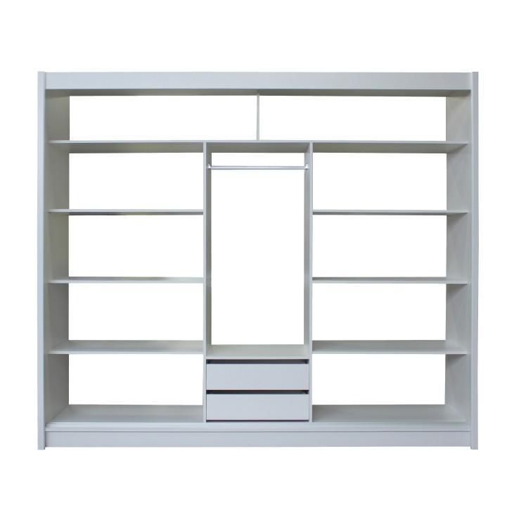 Skříň s posuvnými dveřmi, bílá / černá, Merina 250, TEMPO KONDELA