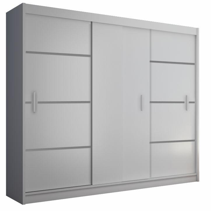 Skriňa s posúvacími dverami, biela/čierna, MERINA 250