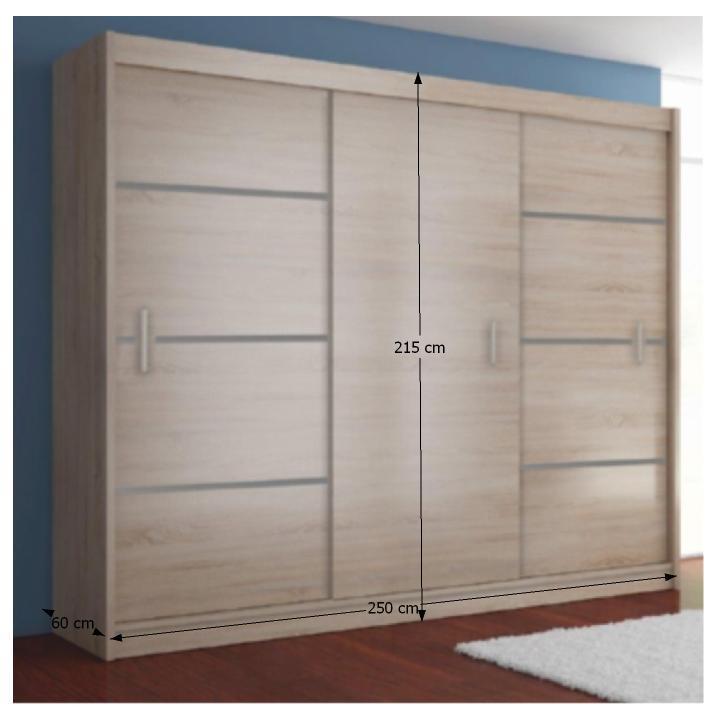Skříň s posuvnými dveřmi, dub sonoma / šedá, Merina 250, TEMPO KONDELA