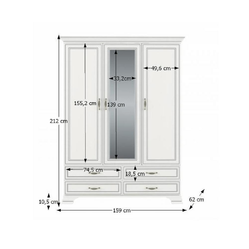 Dulap cu oglindă 3D4S, PAL melaminat, woodline crem, TIFFY 01