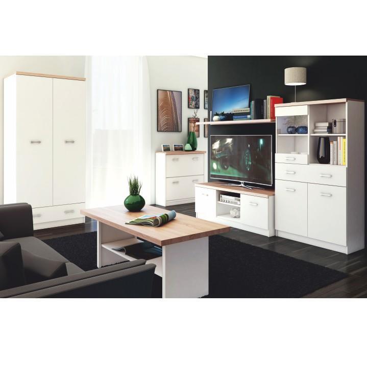 2ajtós szekrény 2d1s fiókkal,DTD laminált, fehér + sonoma tölgyfa, TOPTY