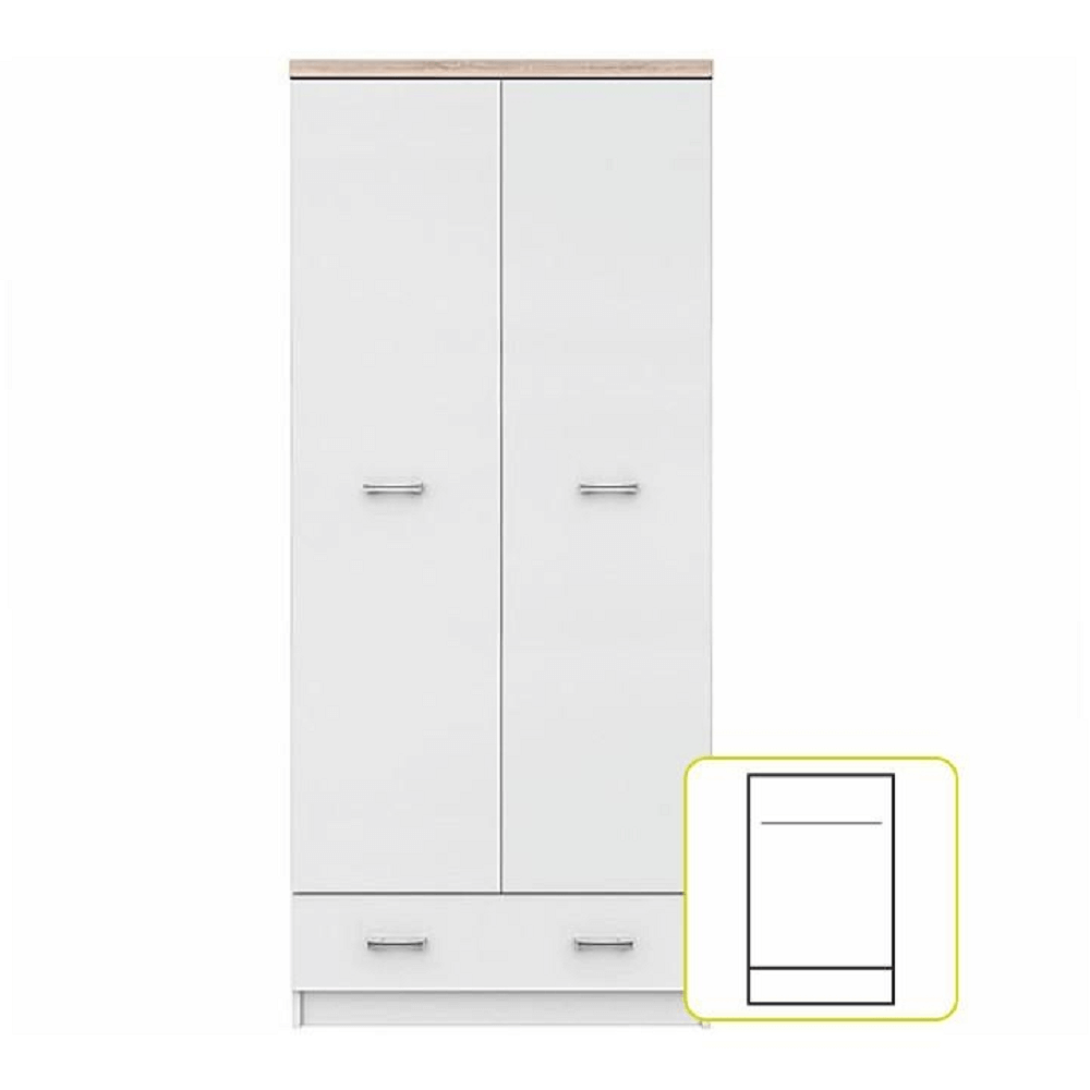Dvoudveřová skříň 2D1S, bílá / dub sonoma, TOPTY, TEMPO KONDELA