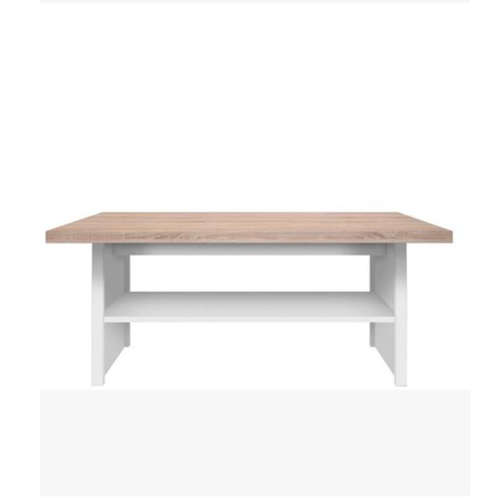 Dohányzóasztal 115,DTD laminált, fehér + sonoma tölgyfa, TOPTY