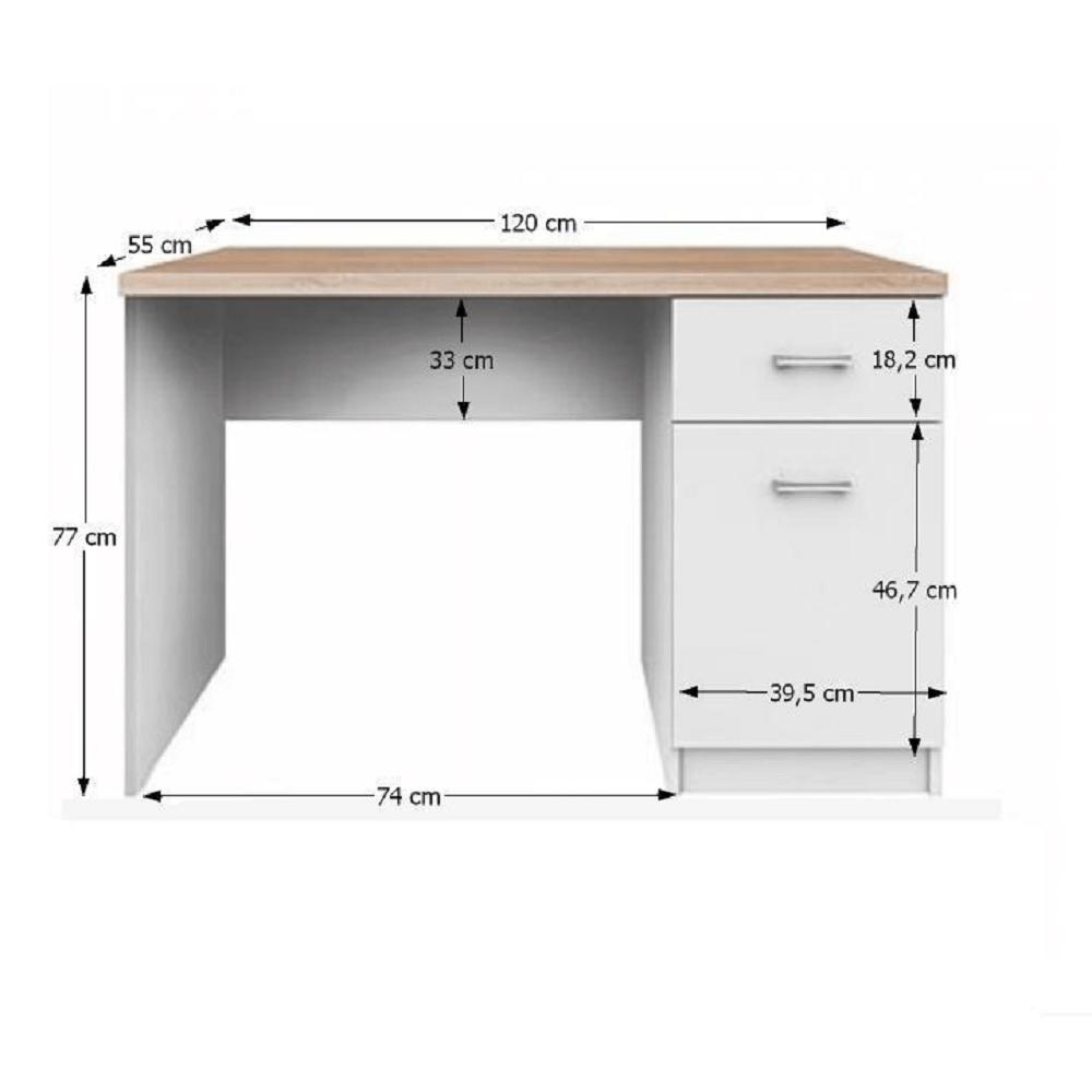 PC asztal 1d1s,DTD laminált, fehér + sonoma tölgyfa, TOPTY