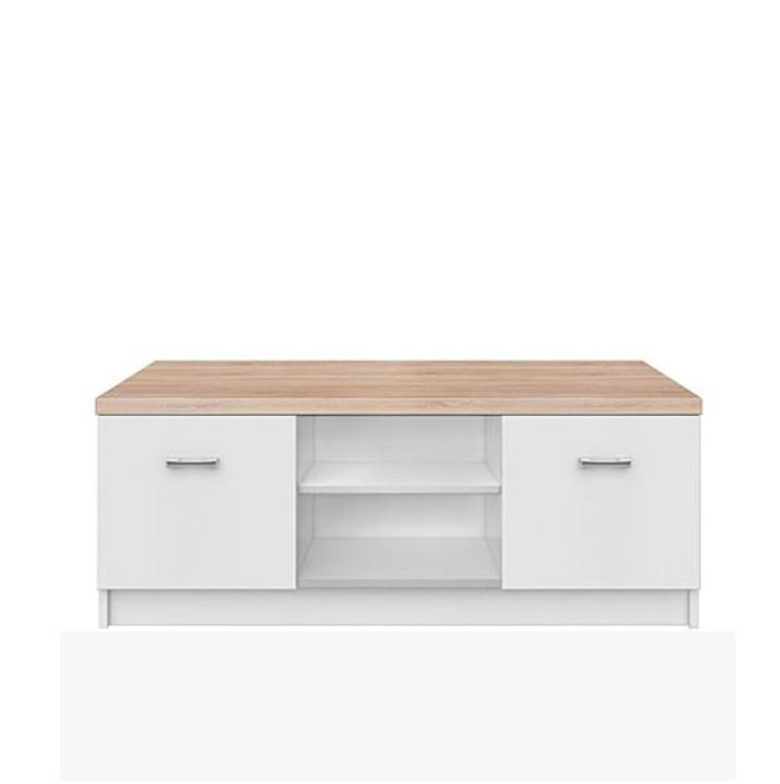 TV asztal 2d,DTD laminált, fehér + sonoma tölgyfa, TOPTY