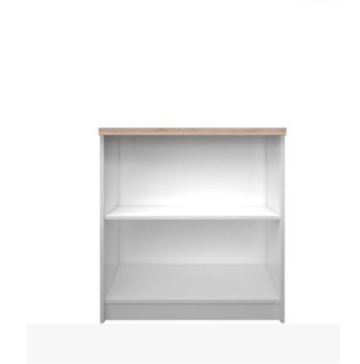 Alacsony nyitott polcos szekrény 80,DTD laminált, fehér + sonoma tölgyfa, TOPTY