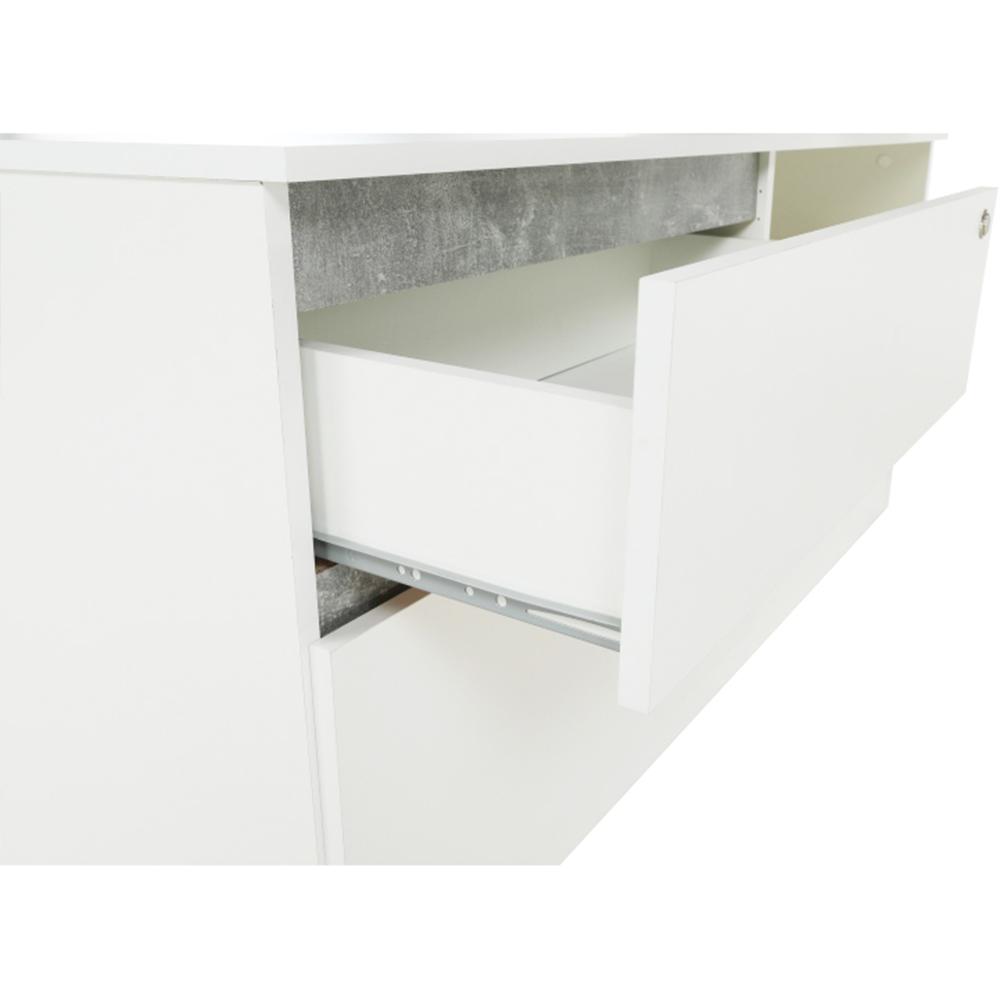 BENTOS - PC stůl, rohový s policí, bílá / beton, TEMPO KONDELA