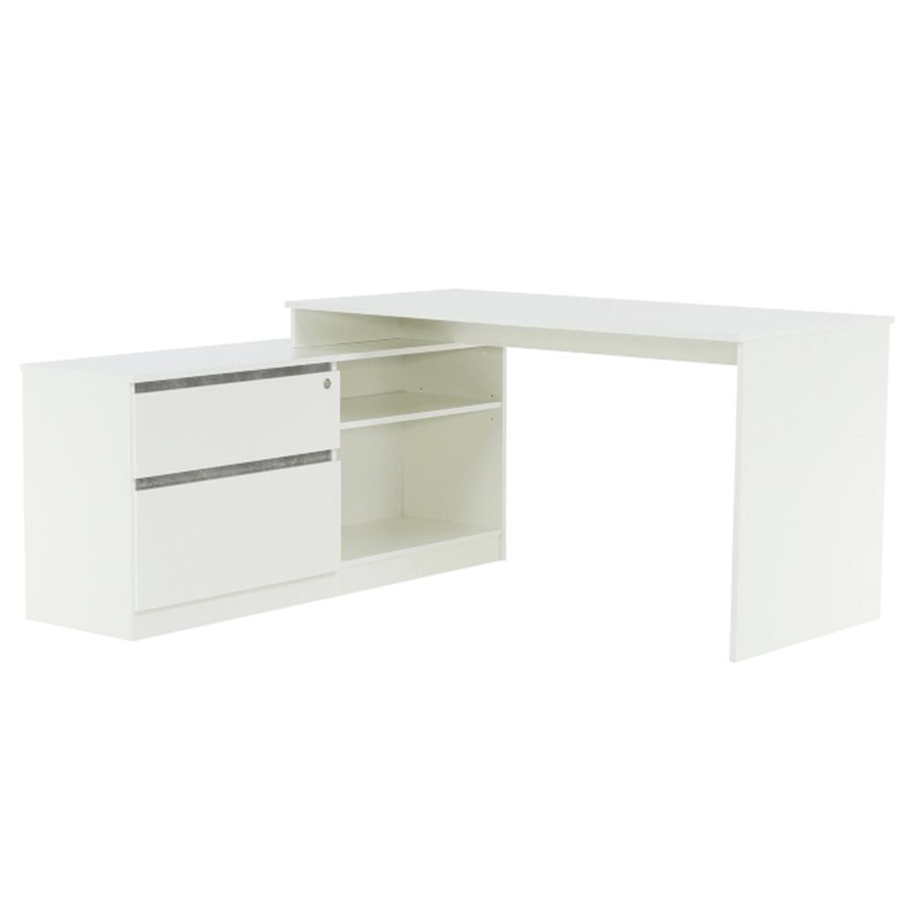 Rohový PC stôl, biela/betón, BENTOS