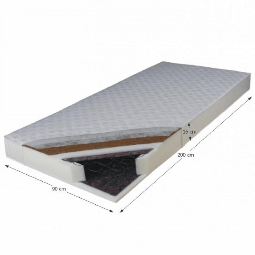Matrace, oboustranný, pružinový, 90x200, KOKOS MEDIUM