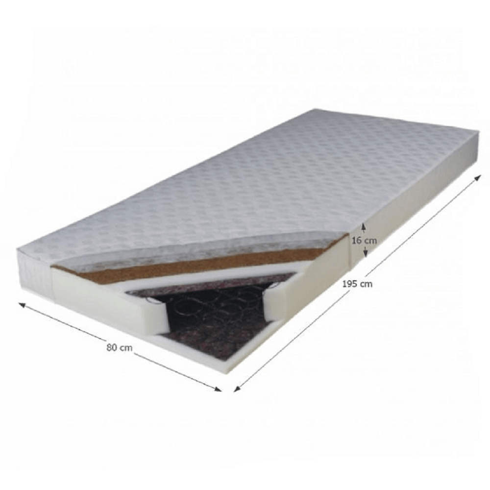 Kétoldalas rugós matrac, 80x195, KOKOS MEDIUM