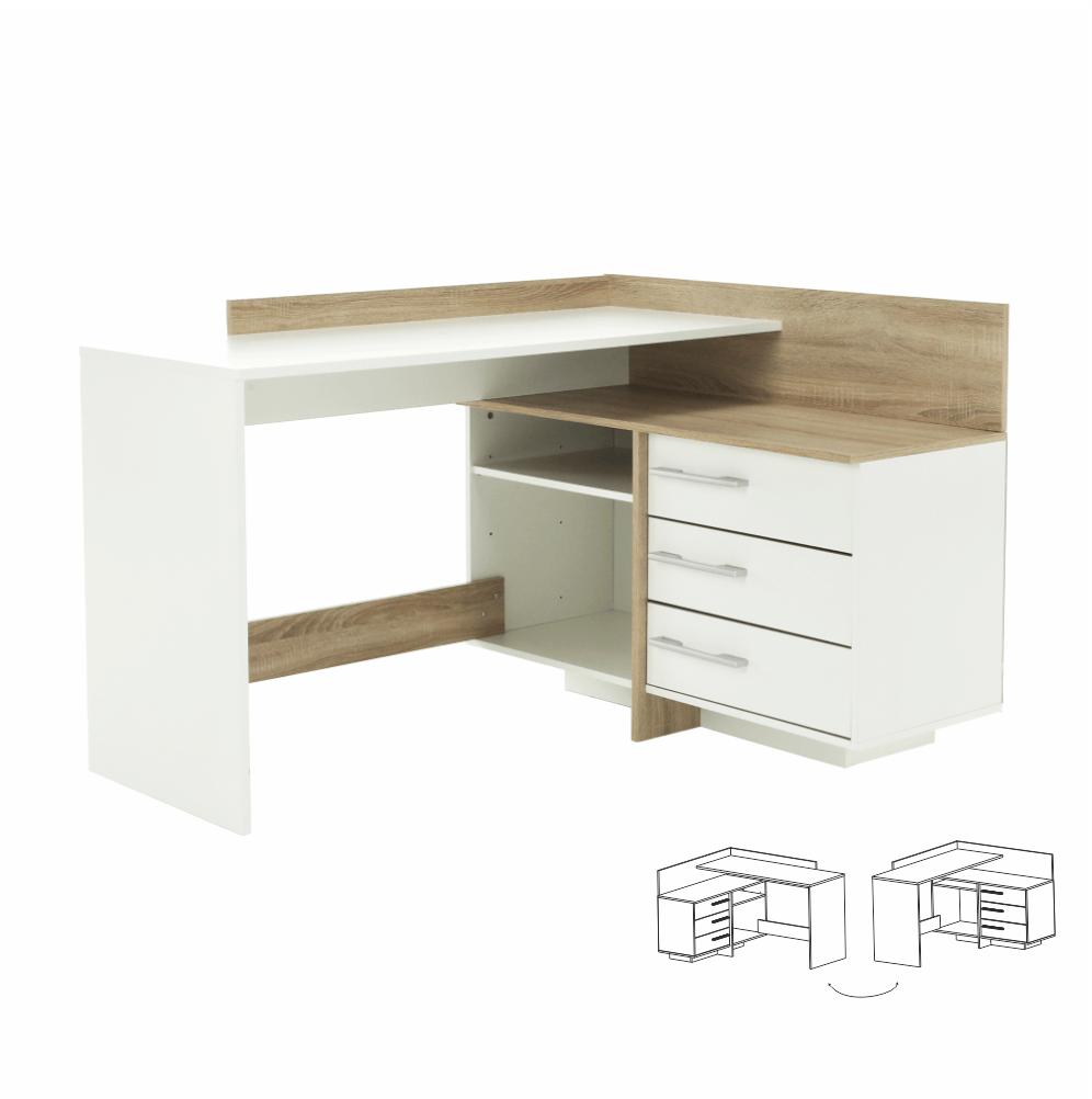 TALE - PC stůl, univerzální, dub sonoma / bílá, TEMPO KONDELA