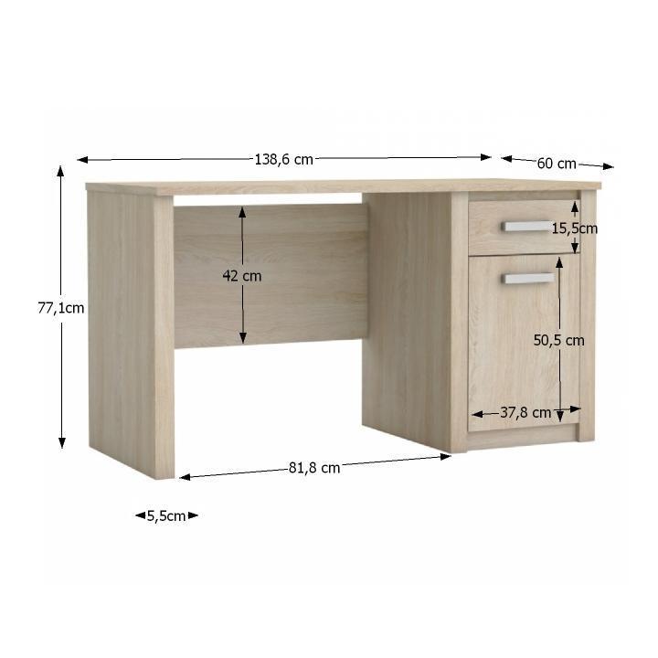 TEMPO KONDELA PC stôl so zásuvkou a skrinkou, dub sonoma, HERUD - Tempo nábytek