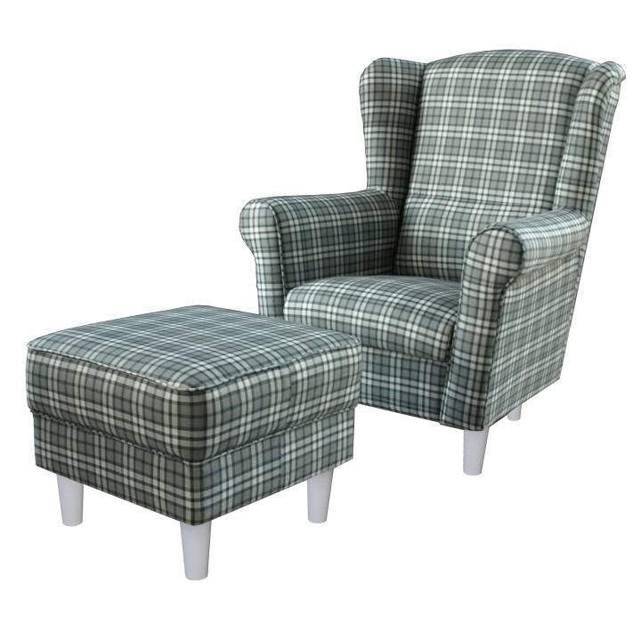 Füles fotel és puff,kockamintás/fehér lábak, ASTRID