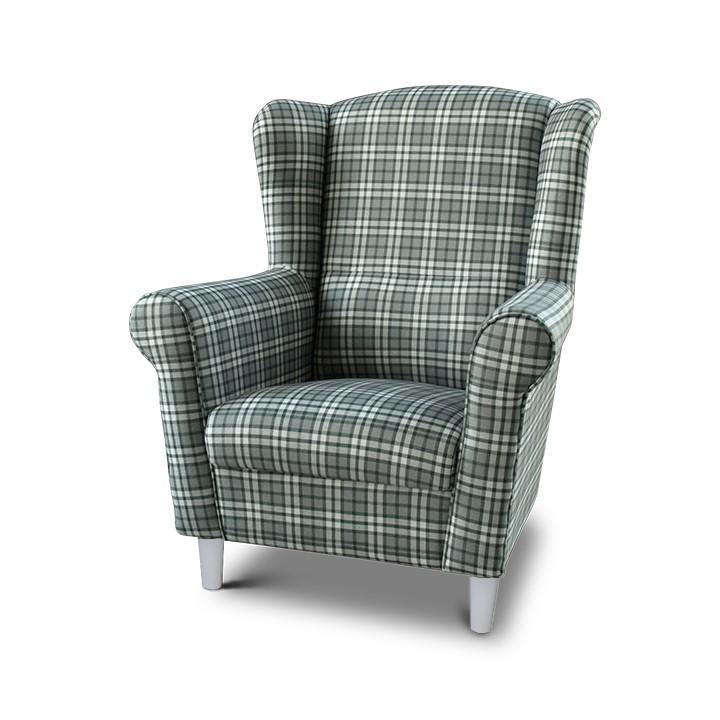 Fotel, kocka minta - fehér lábak, CHARLOT