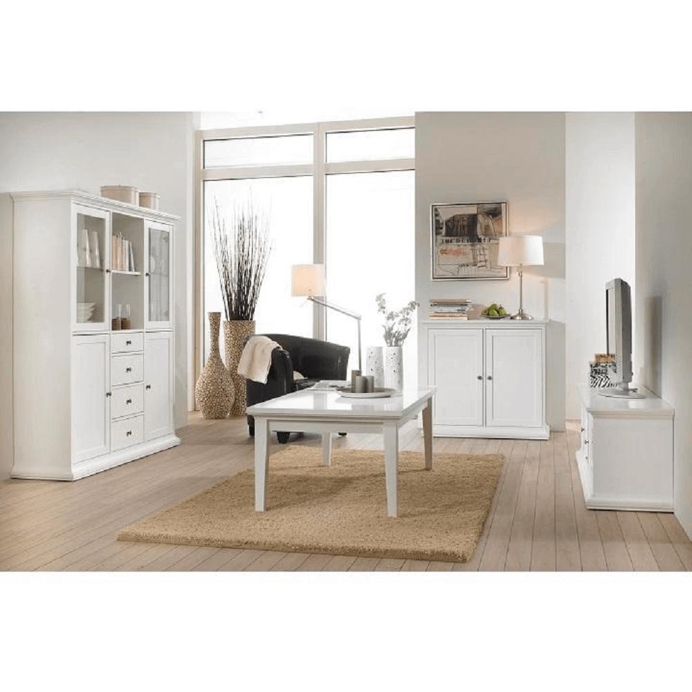 Vysoká vitrína, bílá, PARIS 79865, TEMPO KONDELA