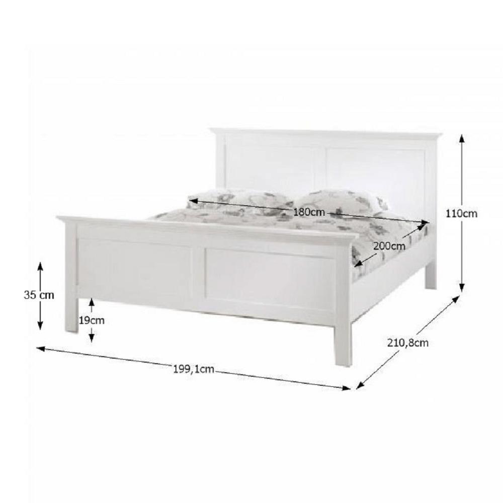 Postel, bílá, 180x200, PARIS, TEMPO KONDELA
