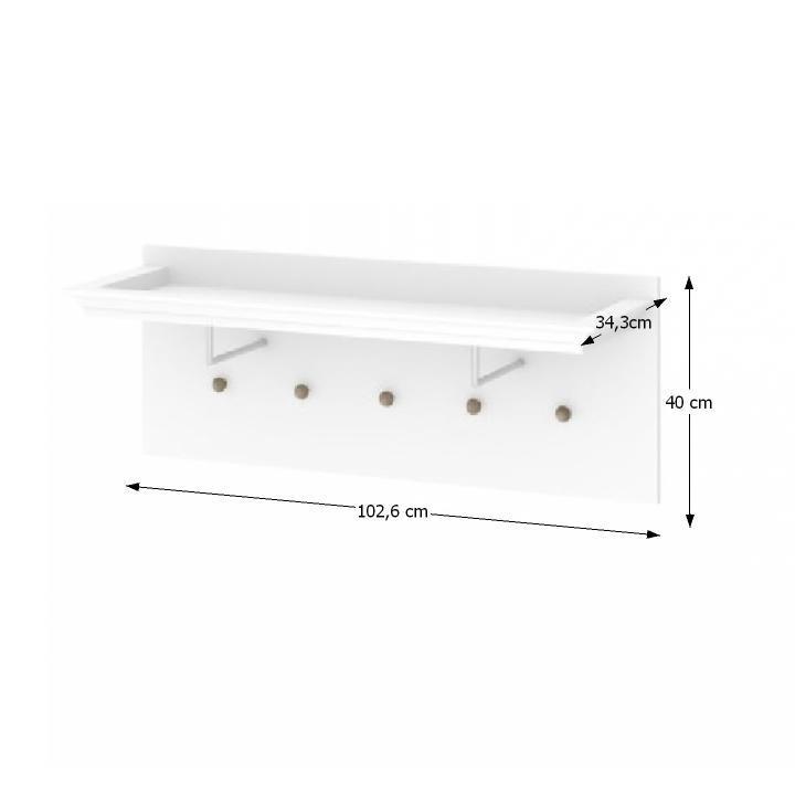Előszoba bútor, fogas, DTD fóliázott/MDF festett, fehér, PARIS 70308