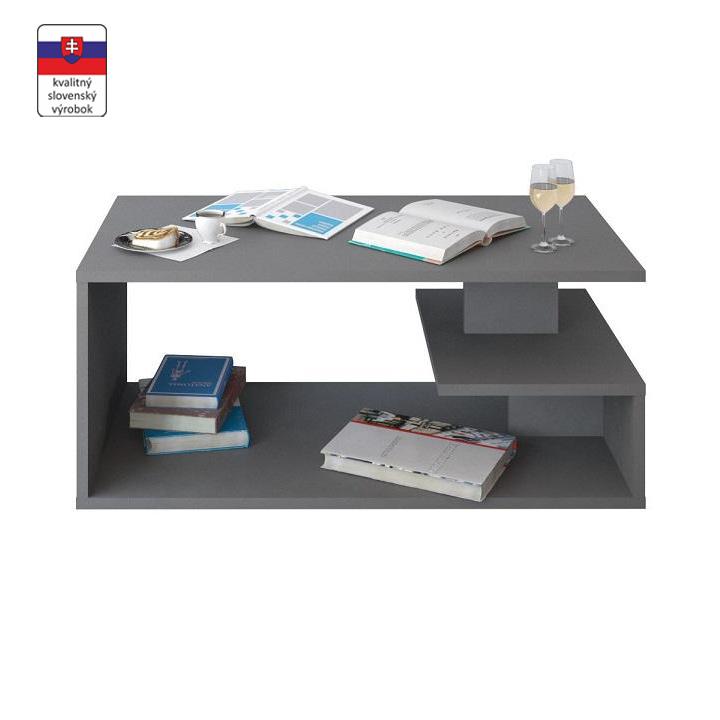 Konferenčný stolík, DTD laminovaná, sivá grafit, MARSIE