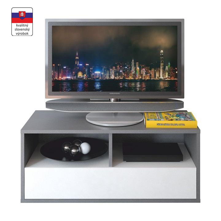RTV asztal,DTD laminált,szürke grafit/fehér, MARSIE