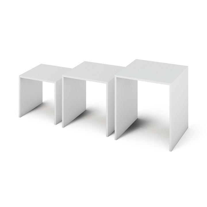 TEMPO KONDELA Príručný stolík, DTD laminovaná/ABS hrany, biela, SIPANI - Tempo nábytek
