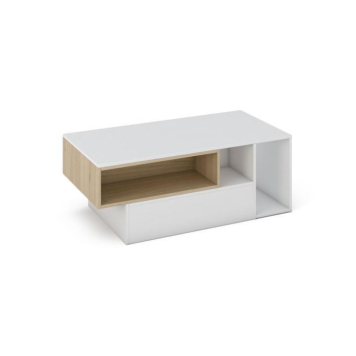 Konferenčný stolík, DTD laminovaná, Biela/Dub sonoma, MIRKUS