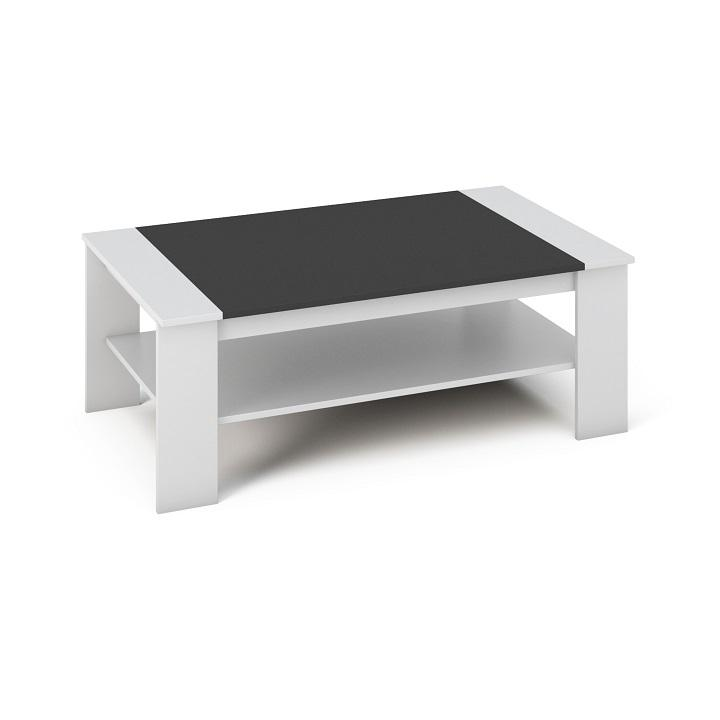 Konferenčný stolík, DTD laminovaná/ABS hrany, Biela/čierna, BAKER
