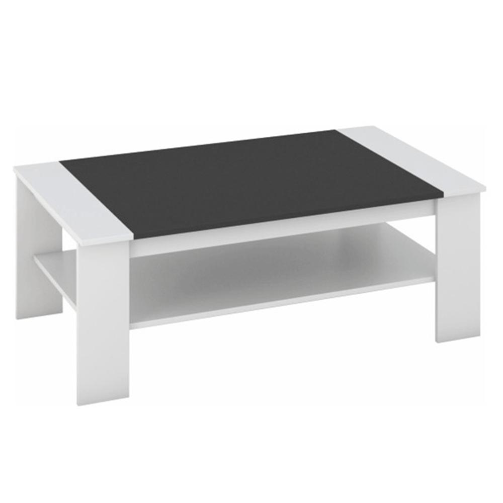 Konferenčný stolík, biela/čierna, BAKER